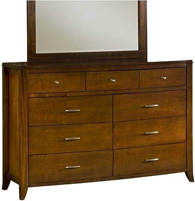 Benzara BM187837 Wooden Nine Drawer Dresser with Tapered Feet, Cinnamon Brown