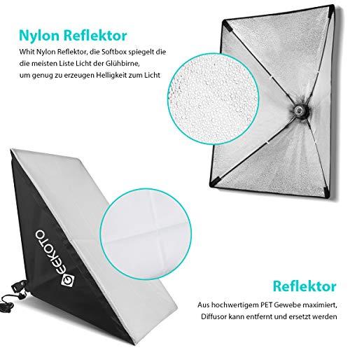 GEEKOTO Softbox Set Fotostudio 50 x 70cm, Dauerlicht Studioleuchte Set mit 2 Softboxlampen E27 85W 5500K, 2m Vollverstellbare Lichtstative für Studio-Porträts, Produktfotografie, Modefotos, usw. - 2