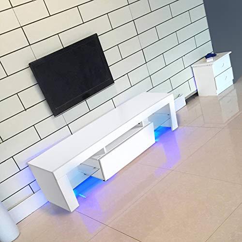 Salontafel TV/Bank TV/kast TV wit van hout met LED-verlichting RGBW en afstandsbediening 130 x 35 x 45 cm