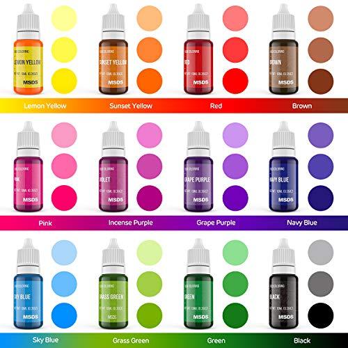 12 Color Cake Food Coloring Set, Nomeca Food Grade Vibrant Food Color Liquid Dye Tasteless for Baking, Icing, Decorating, Fondant, Cooking, Slime Making DIY Supplies Kit - .35 Fl. Oz (10 ml) Bottles
