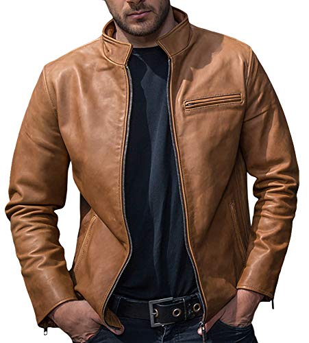 Mens Leather Motorcycle Jacket Vintage Stand Collar Zip Up Bomber Jackets Outwear Khaki