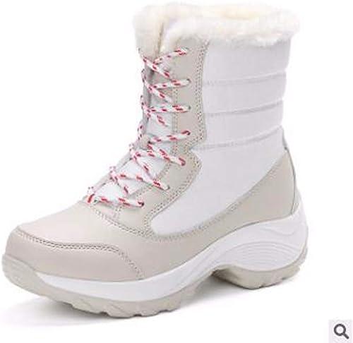 HBDLH Chaussures pour Femmes Velvet Chaussures Vêtements d'hiver étudiant Cravate Imperméables Bottes pour La Neige Femmes en Coton De Chaussures.