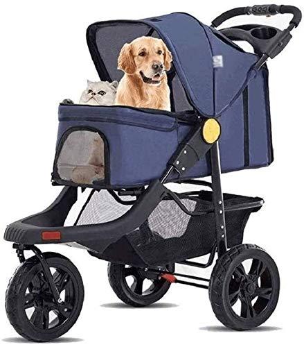 Hundewagen 4 Wheeler Pet Stroller Jogger Pet Stroller Katze/Hund einfach zu gehen Folding Travel Träger 360 Grad Haustier Wagen
