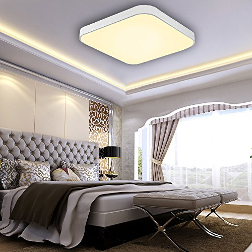 VINGO® 60W LED Deckenleuchte Wohnzimmerlampe Badlampe Warmweiß Innenlampe Deckenlampen Beleuchtung Lüster Alu-matt Lichtern aus Metall Esszimmer Büro Treppen KorridorUltraslim