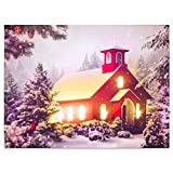 Nexos LED Wandbild Leinwandbild mit Beleuchtung 30x40 cm rotes Kirche Fotodruck Kunstdruck Leuchtbild Weihnachten Batterie Winteridylle Effekt-LED