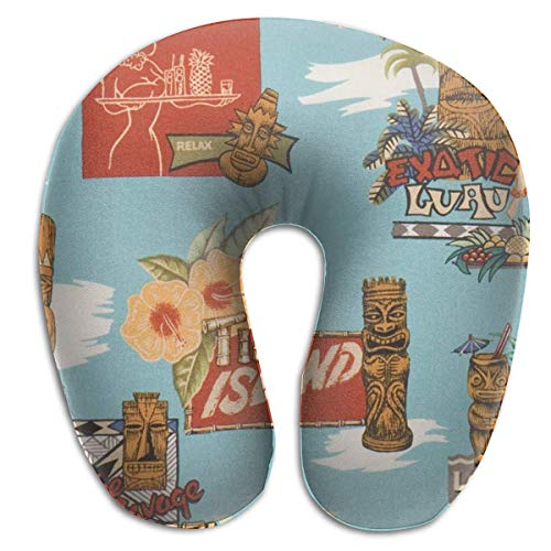 Hdadwy Tiki Aloha Travel Pillow Set Best Sleep Accessories for Long Airplane Flights and Car Trips