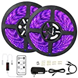 Black Lights Strip Remote Control, OPPSK 33ft/10M 600 Units UV LED Strips Black Lights, Dimmable & Strobe, Flexible Black Light for Glow Party, Stage Lighting Wedding Birthday Christmas Decoration
