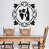 Bouteille De Vin Stickers Muraux Raisin Verre Gobelet Boisson Alcool Restaurant Cave Intérieur Décor Vinyle Fenêtre Decal Art Mural 42X42 Cm