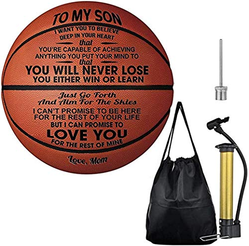 Read About Engraved Basketball For Son - Personalized Basketball Indoor/Outdoor Game Ball For Son - ...