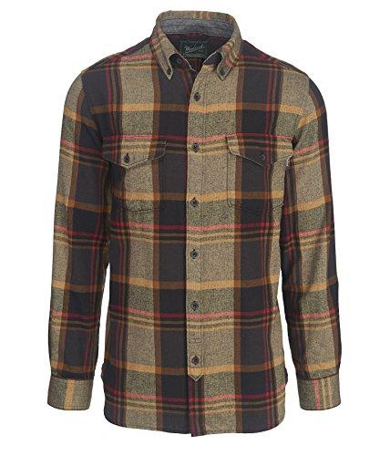 Woolrich Men's Stone Rapids Organic Cotton Yarn-dye Flannel Modern Fit, Black, Medium