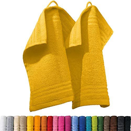 REDBEST Seiftuch New York 2er- Pack gelb Größe 30x30 cm - leichte, weiche Qualität, saugstark, sehr strapazierfähig, 100% Baumwolle (weitere Farben)
