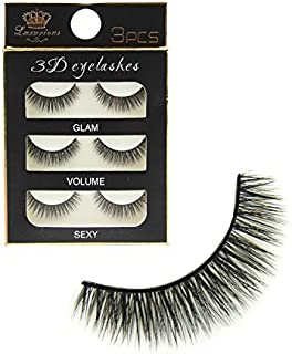 Preyansh Pack 3 Pairs Black Handmade Natural 3D Thick Long False Eyelashes