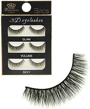Electomania 3 Pairs Black Handmade Natural 3D Thick Long False Eyelashes