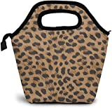 Bolsa de almuerzo con estampado de leopardo, impermeable, reutilizable, duradera, con aislamiento, fiambreras para hombres y mujeres, estampado de leopardo, 7-talla única