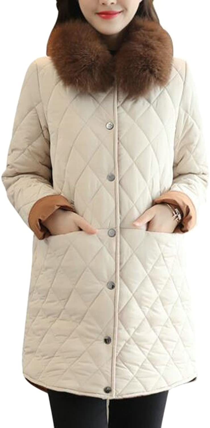 GAGA Womens Elegant Classic Faux Fur Collar Padded Quilted Jacket Coat
