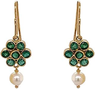 Gehna 18k (750) Yellow Gold, Emerald and Pearl Drop Earrings for Women
