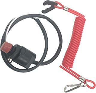 Perfk Universal Outboard Engine Safety Stop Kill Emergency Switch with Lanyard Cord for Marine Boat Motors