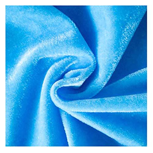 Tela de terciopelo verde oscuro de grosor medio, tela decorativa de terciopelo prensado azul cielo, tela de artesanía, tela de terciopelo de terciopelo de seda, tamaño: 1.6M * 1M(Color:Cielo azul)