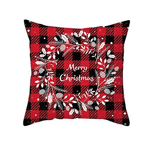 Qishi Christmas pillowcase black red lattice pillowcase cushion 18 * 18 inch pillowcase