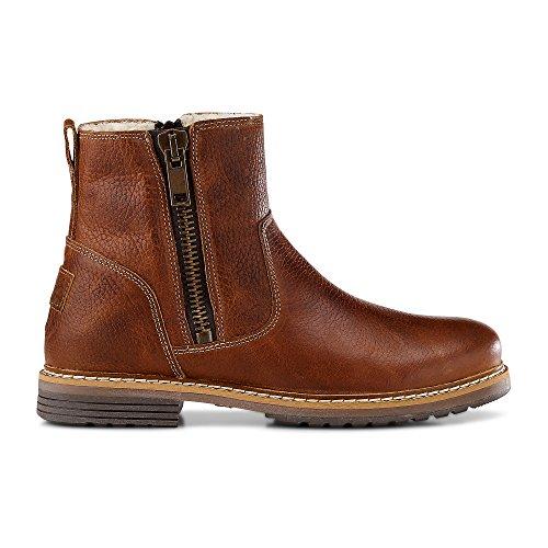 Cox Damen Winter-Boots aus Leder, Stiefeletten in Braun mit warmen Teddyfell gefüttert Braun Glattleder 39