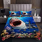 richhome Shark Big Mouth Ocean Coverlet Set King Fish - Juego de funda de edredón subacuático para adolescentes, juego de cama de 3 piezas con 2 fundas de almohada