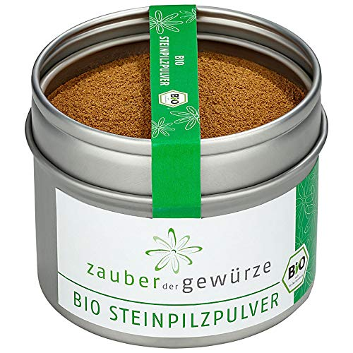Zauber der Gewürze Bio Steinpilzpulver, 100% Steinpilze ohne Zusätze, aromatisch, naturbelassen, fein gemahlen, zum Verfeinern von Suppen, Saucen, Pilzpfannen und Eintöpfen, 50g