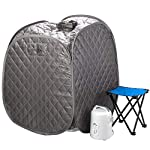 Durasage Personal Foldable Steam Sauna for Weight Loss, Detox & Relaxation at Home, Chair Included (Gray)