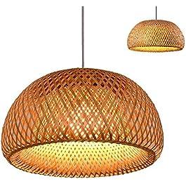 GHY Lustre De Tissage en Bambou Naturel Vintage Lampe Suspendue À La Main Rotin Plafonnier en Osier Suspension Réglable…