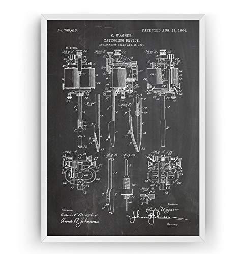 Tattoo Machine 1904 Patent Poster - Tattooist Artist Studio Giclee Print Art Kunst Wall Dekor Decor Entwurf Wandkunst Blueprint Geschenk Gift - Frame Not Included