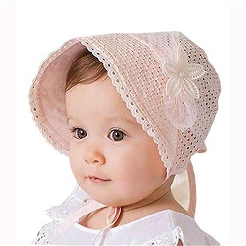 Vovotrade® Kid Enfant Princesse Filles Girls Hat Chapeau Bonnet Convertible Lace Gaze Cap Bride Sun Hat 1-2 Years (Pink)