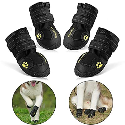 RoyalCare Protective Dog Boots, Set of 4 Waterproof Soft Dog Shoes for Medium and Large Dogs - Black by RoyalCare