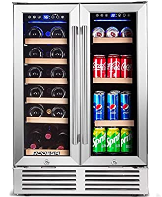 BODEGA Wine and Beverage Refrigerator, 24 Inch Dual Zone Wine Cooler, Built-In or Freestanding, Memory Temperature Control, 2 Safety Locks, Soft LED Light, Quiet Operation, Hold 19 Bottles and 57 Cans