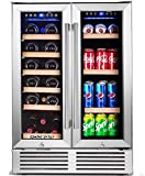 BODEGA Wine and Beverage Refrigerator,24 Inch Dual Zone Wine Cooler With Memory Temperature Control Built-In or Freestanding 2 Safety Locks Soft LED Light Quiet Operation Hold 19 Bottles and 57 Cans