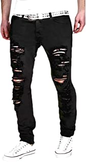 iYYVV Mens Stretchy Ripped Skinny Biker Jeans Destroyed Taped Slim Fit Denim Pants