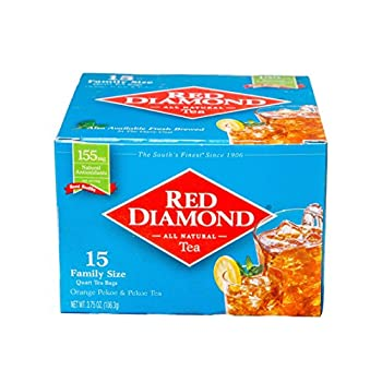 Red Diamond Iced Tea Bags | Family Sized Tea Bags | Delicious and Freshly Brewed Taste | Special Blend |15 Count Quart-sized Bags  12 Pack