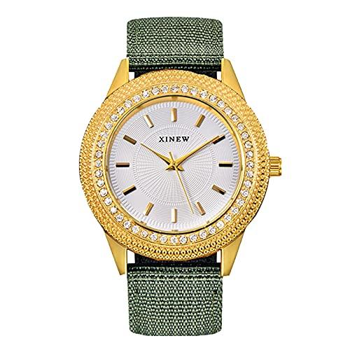 RTUQ Reloj de hombre a la moda, correa de nailon, diamante, regalo atmosférico, lujoso y sencillo, con correa de piel hueca, reloj mecánico, N,