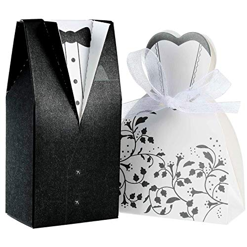 Foonii 100 Stück Süßigkeiten Schachtel Hochzeitskasten Bonbons Schachtel für Hochzeit, (50 Paar) Hochzeit Brautkleid Entwurf Brautpaar Gastgeschenk