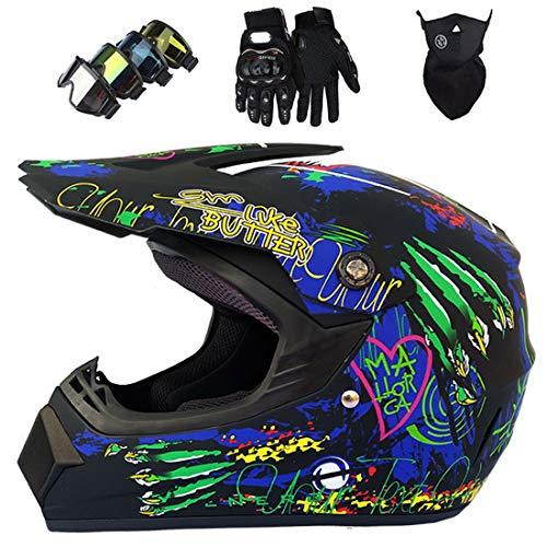 Casco de motocross para niños, Casco integral MTB, Conjunto de casco de moto todoterreno para motocicleta profesional Dirt Bike con gafas, guantes, máscara Certificación ECE & DOT, negro mate