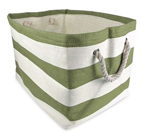 """DII Woven Paper Storage Basket or Bin, Collapsible & Convenient Home Organization Solution for Office, Bedroom, Closet, Toys, & Laundry (Large - 17x15x12""""), Olive Green Rugby Stripe (CAMZ35709)"""