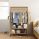 Perchero Decoración for el hogar 2-Tier Coat Rack Organizer Soporte de banco de zapatos de almacenamiento multiusos de madera con rueda móvil for el dormitorio en casa Sala de estar Capacidad de carga