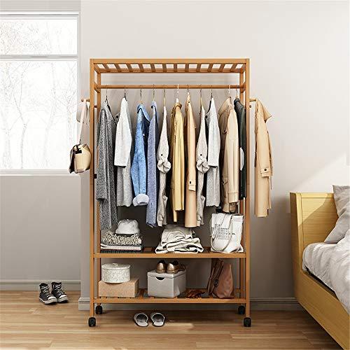 Perchero Soporte multiusos de madera para banco de zapatos de almacenamiento con rueda móvil para el dormitorio en casa Sala de estar Capacidad de carga máxima 50 kg / 110 lb Percheros Burro