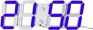 LED 壁掛け 3D 立体 42.5*15.5CM デジタル時計 ウォールクロック リモコン付きUSB電源アダプタ付き 大型 12/24時間制切替式 時間 日付 温度表示 アラーム機能付き カウントダウン 展示(ブルー)