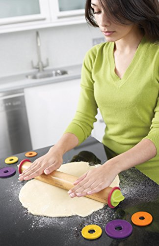 "Joseph Joseph 20085 Adjustable Rolling Pin with Removable Rings, 16.5"", Multicolored"