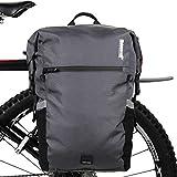 Rhinowalk Bike Bag Waterproof Pannier Backpack Convertible - 2 in 1 Bicycle Saddle Bag Shoulder Bag Laptop Pannier Professional Cycling Accessories-Gray