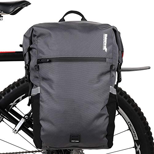 Rhinowalk Bike Bag Waterproof Pannier Bag Backpack Convertible - 2 in 1 Bicycle Saddle Bag for Bike Commuting, Travel and Outdoor