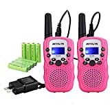 Retevis RT-388 Rechargeable Walkie Talkies for Kids,22 CH Flashlight Durable Toys for Boys Girls Aged 6-12,Pink, Outdoor Camping,Hiking,Adventure(Pink,2 Pack)