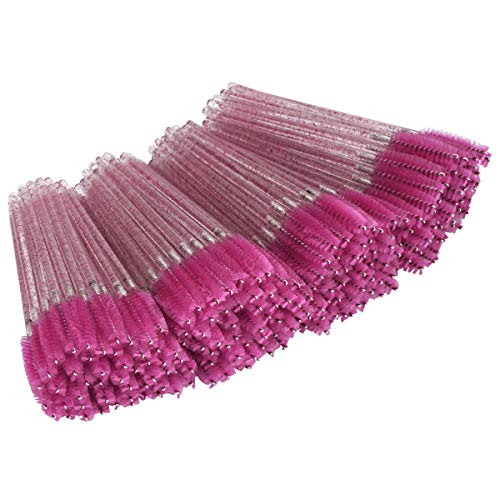 Tifanso 200PCS Disposable Eyelash Brush Mascara Wand Lash Brushs Makeup Applicators for Eyelash Extensions (Rosy)