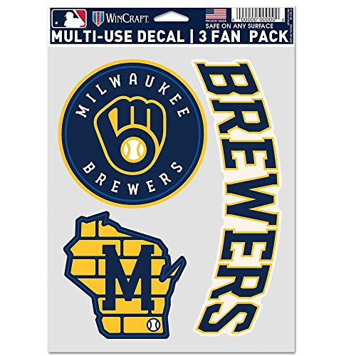 milwaukee brewers WinCraft MLB Milwaukee Brewers Decal Multi Use Fan 3 Pack, Team Colors, One Size