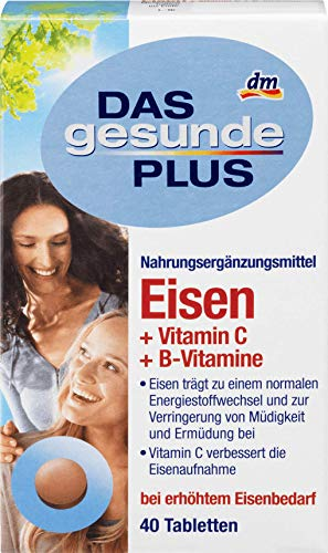 DAS gesunde PLUS Eisen + Vitamin C + B-Vitamine, Tabletten, 40 Stück