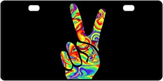 INTERESTPRINT Symbol of Hippie Two Thumbs Up Rainbow Peace Love Metal License Plate Tag Sign Decoration for Car Woman Man - 11.8